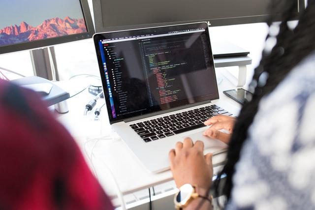 A person coding